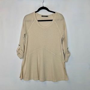 Doe & Rae Tunic Sand Roll Up Sleeves Top